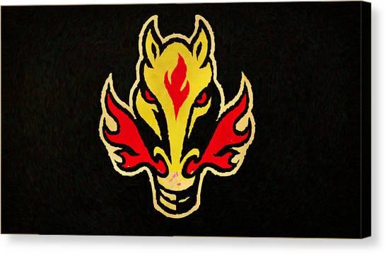 Calgary Flames Canvas Print - Calgary Flames by Lora Battle