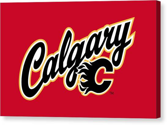 Calgary Flames Canvas Print - Calgary Flames by Lucie Malecot