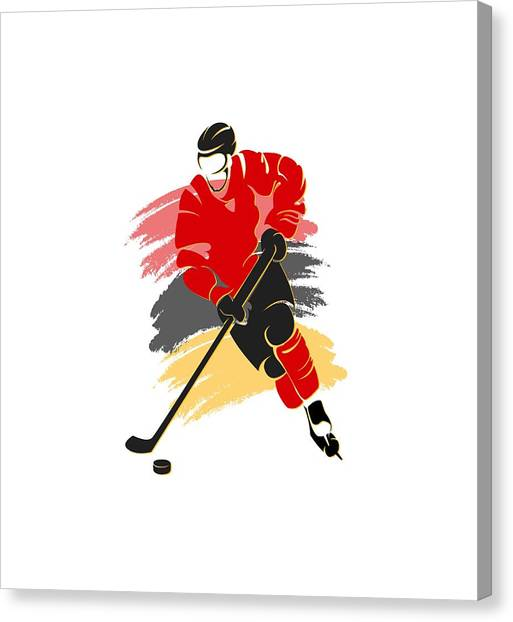Calgary Flames Canvas Print - Calgary Flames Player Shirt by Joe Hamilton