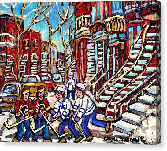 Calgary Flames Canvas Print - Calgary Flames Vs Maple Leafs Hockey Art Kids Winter Fun Montreal Streets And Staircases Canada Art by Carole Spandau