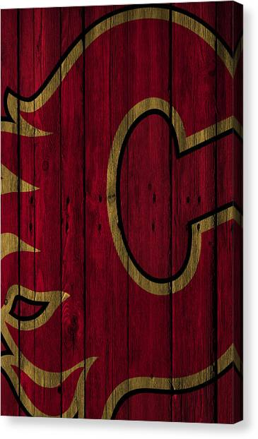 Calgary Flames Canvas Print - Calgary Flames Wood Fence by Joe Hamilton