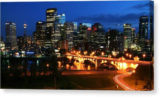 Calgary Skyline At Night Canvas Print