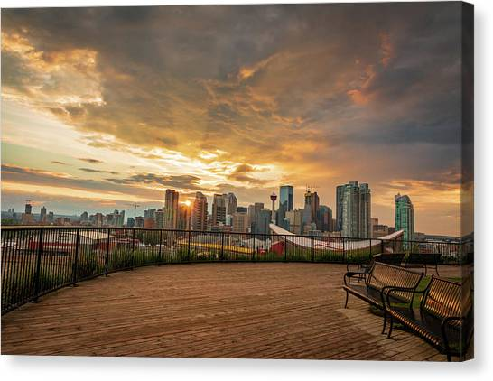 Calgary Flames Canvas Print - Calgary's Golden Sunset by Cory Huchkowski