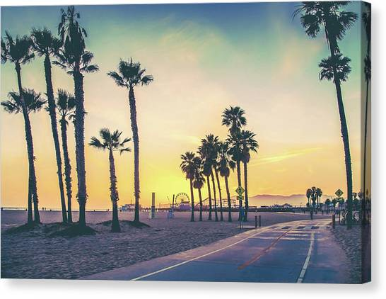 Santa Monica Canvas Print - Cali Sunset by Az Jackson