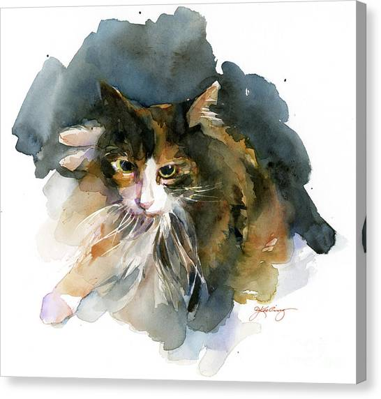 Watercolor Pet Portraits Canvas Print - Calico Cat by John Keeling