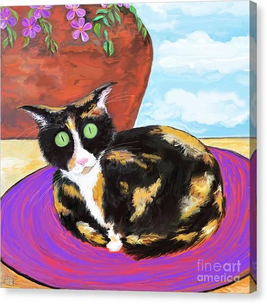 Calico Cat On A Rug  Canvas Print