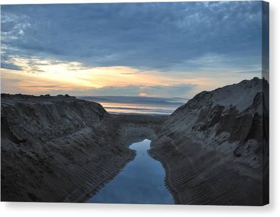 California Beach Stream At Sunset - Alt View Canvas Print