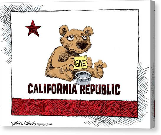 Canvas Print featuring the drawing California Budget Begging by Daryl Cagle