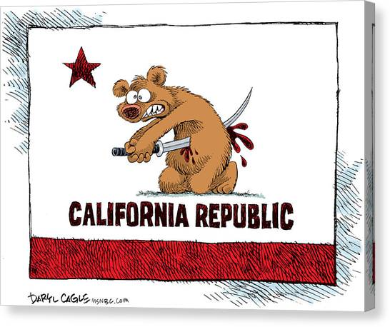 Canvas Print featuring the drawing California Budget Harakiri by Daryl Cagle