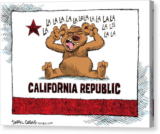 Canvas Print featuring the drawing California Budget La La La by Daryl Cagle