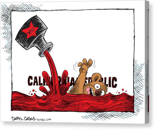 Canvas Print featuring the drawing California Budget Red Ink by Daryl Cagle