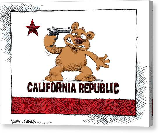Canvas Print featuring the drawing California Budget Suicide by Daryl Cagle