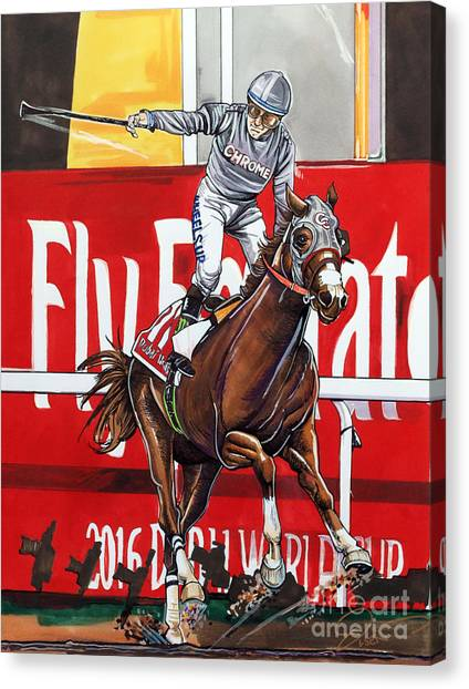 World Cup Canvas Print - California Chrome Wins The 2016 Dubai World Cup by Dave Olsen