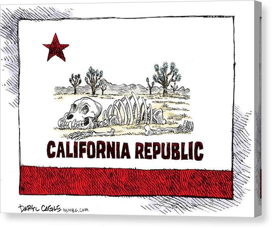 Canvas Print featuring the drawing 	California Drought by Daryl Cagle