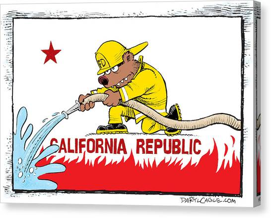 Canvas Print featuring the drawing California Firefighter Flag by Daryl Cagle