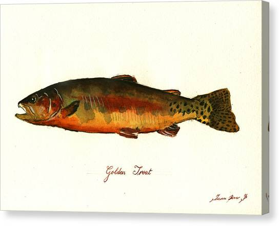 Fly Fishing Canvas Print - California Golden Trout Fish by Juan  Bosco