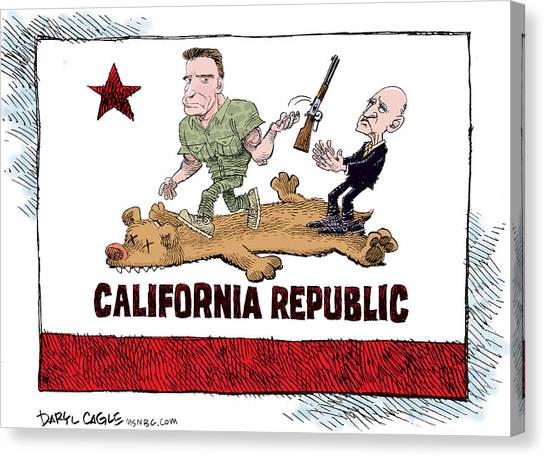 Canvas Print featuring the drawing California Governor Handoff by Daryl Cagle