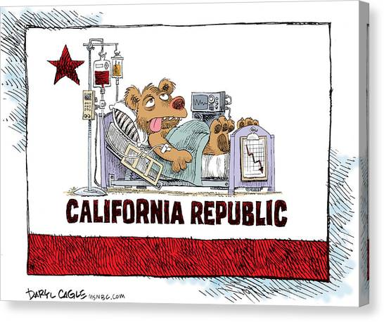 Canvas Print featuring the drawing California Is Sick by Daryl Cagle