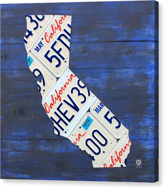 Map Canvas Print - California License Plate Map On Blue by Design Turnpike