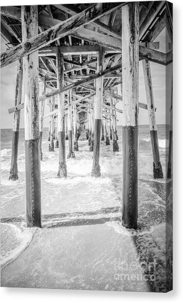 Oversized Canvas Print - California Pier Black And White Picture by Paul Velgos