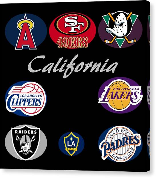 Oakland Raiders Canvas Print - California Professional Sport Teams Collage  by Movie Poster Prints