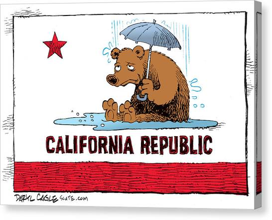 Canvas Print featuring the drawing California Rain by Daryl Cagle