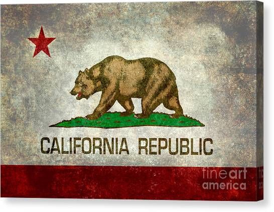 California Republic State Flag Retro Style Canvas Print