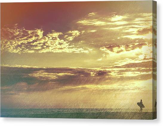 California Sunset Surfer Canvas Print