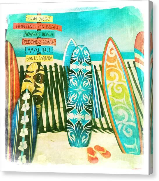 California Surfboards Canvas Print