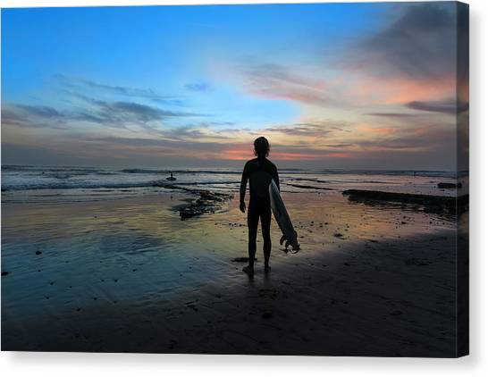Ocean Sunset Canvas Print - California Surfer by Larry Marshall