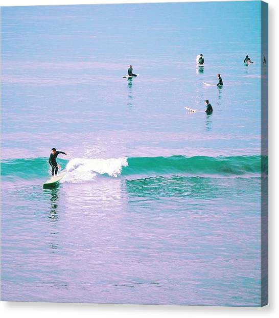 Santa Monica Canvas Print - California Surfers by Robert Ceccon
