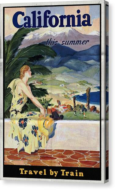 California This Summer - Travel By Train - Vintage Poster Folded Canvas Print