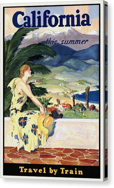 California This Summer - Travel By Train - Vintage Poster Restored Canvas Print