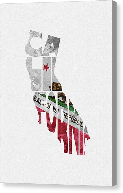 Sacramento State Canvas Print - California Typographic Map Flag by Inspirowl Design