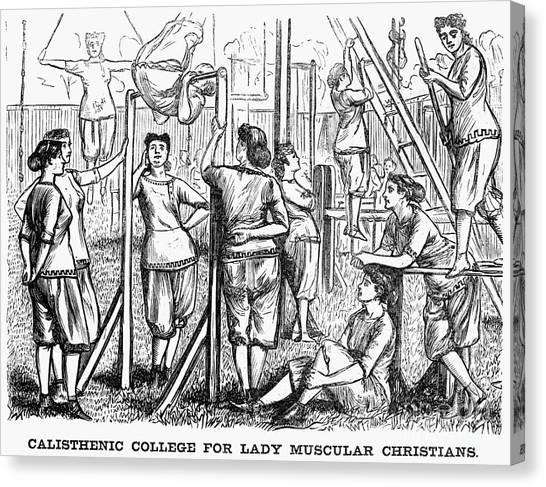 Balance Beam Canvas Print - Calisthenics, 1867 by Granger