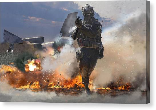 Call Of Duty Canvas Print - Call Of Duty 4 Modern Warfare by Barbara Elvins