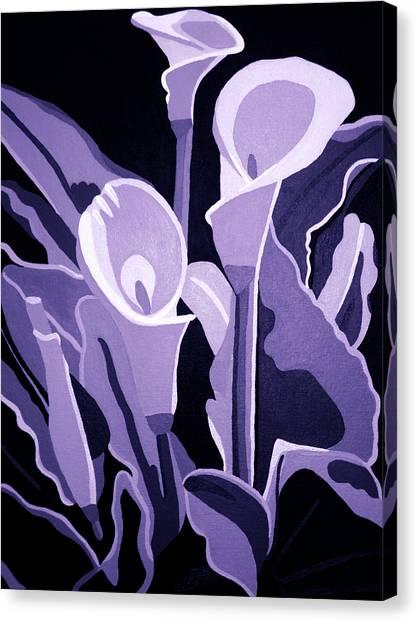Calla Lillies Lavender Canvas Print