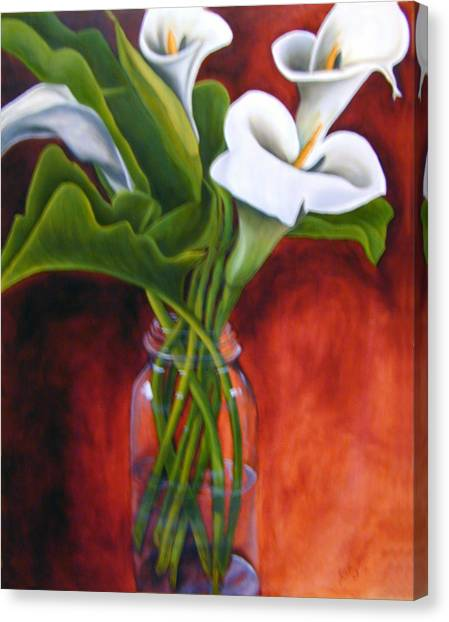 Calla Lilly On Red Canvas Print by Joyce Snyder