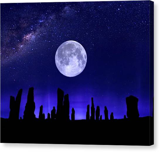 Callanish Stones Under The Supermoon.  Canvas Print