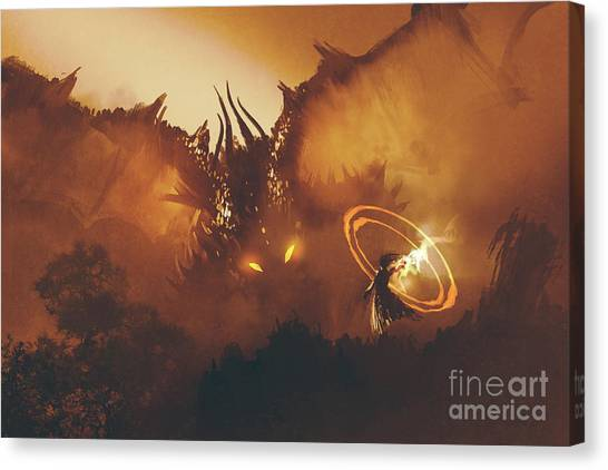 Canvas Print featuring the painting Calling Of The Dragon by Tithi Luadthong