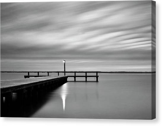 Calm Barnegat Bay New Jersey Black And White Canvas Print
