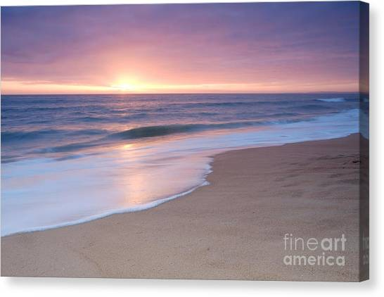 Calm Beach Waves During Sunset Canvas Print