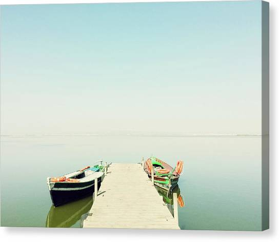 Fishing Boats Canvas Print - Calm Lake With Two Fishing Boats by GoodMood Art