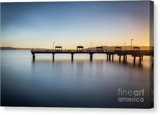 Calm Morning At The Pier Canvas Print