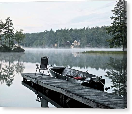 Calm Morning On Little Sebago Lake Canvas Print