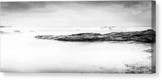 Canvas Print featuring the photograph Calm Ocean Landscape Black And White by Tim Hester