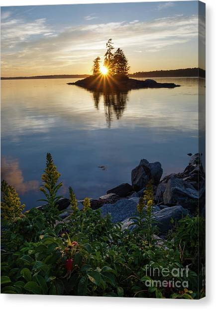 Calm Water At Sunset, Harpswell, Maine -99056-99058 Canvas Print