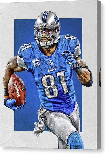 Detroit Lions Canvas Print - Calvin Johnson Detroit Lions Art by Joe Hamilton