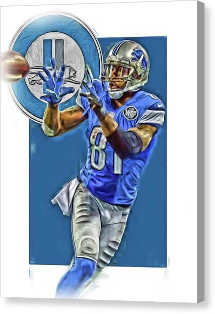 Detroit Lions Canvas Print - Calvin Johnson Detroit Lions Oil Art 2 by Joe Hamilton