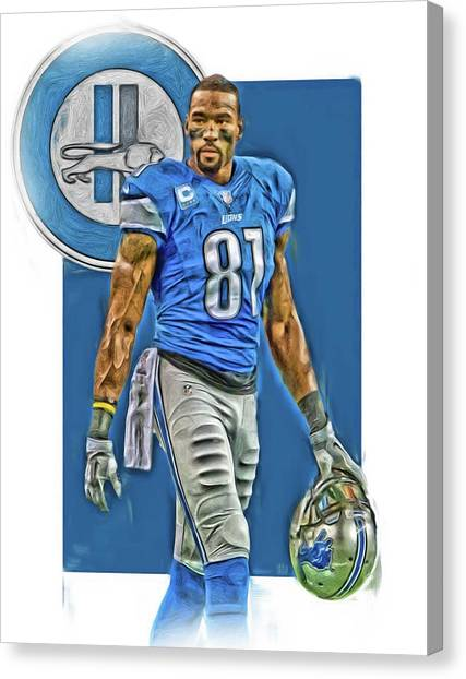 Detroit Lions Canvas Print - Calvin Johnson Detroit Lions Oil Art by Joe Hamilton
